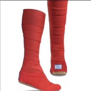 Toms Wrap Up Bandage Boots No Polo Widow Vegan Size 5.5 Red